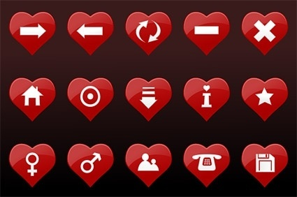 red heart shaped icons collection various interfaces decoration