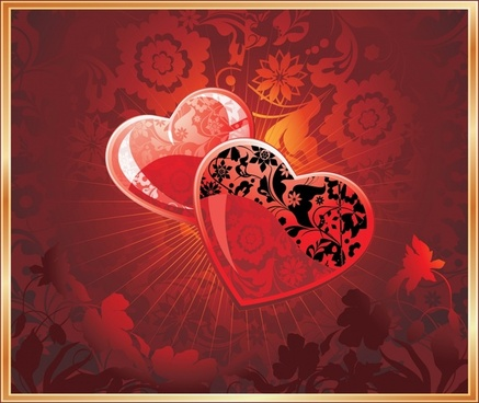 valentine background shiny red heart flora decor