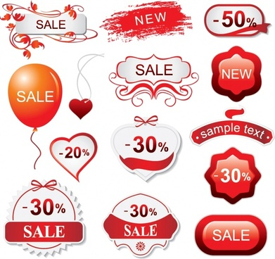 sales design elements heart sticker balloon red decor