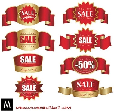 Red labels vector