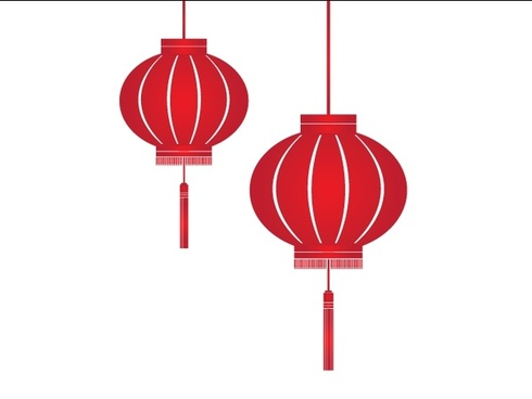 red lantern icons traditional design style