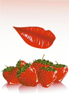 red lips and strawberry vector
