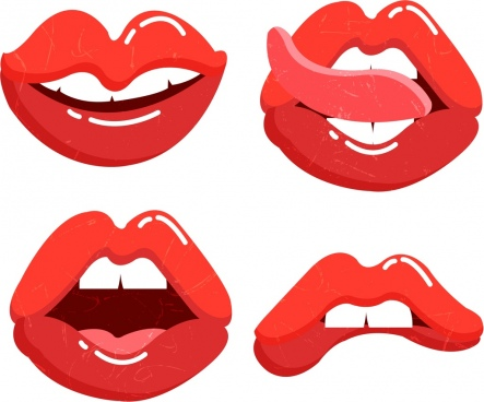 red lips icons collection funny gestures design