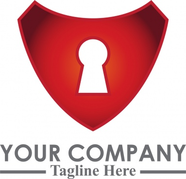 red lock security logo template