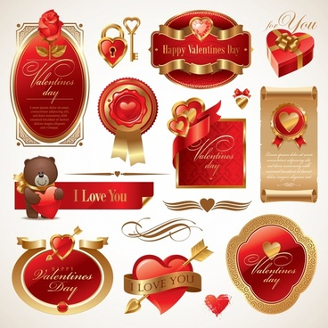 valentines design elements elegant modern golden red decor