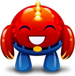 Red monster happy