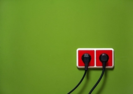 red on the green wall socket picture