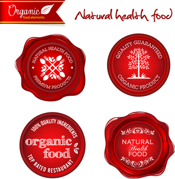 red organic nature health food badge