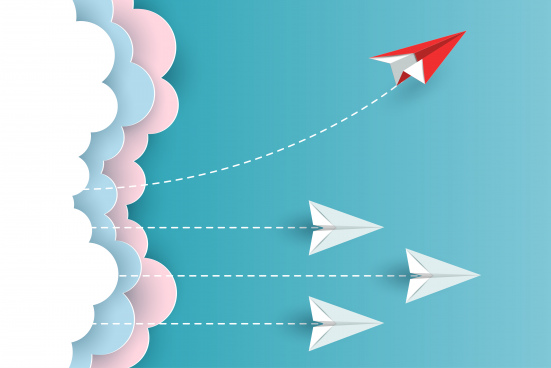 red paper plane changing direction from white up to the sky new idea different business concepts courage to risk leadership illustration cartoon vector