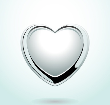 heart medal icon modern shiny silver design