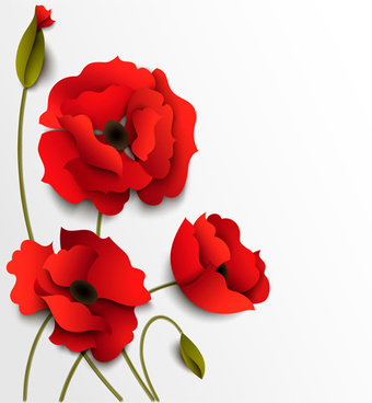 Red paper flowers on white background free vector download 61690 red poppy with white background vector mightylinksfo