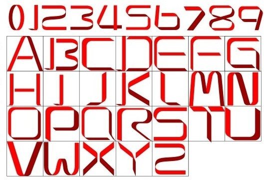 red ribbon alphabet with number vector