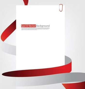 red ribbon and cardboard vector 1