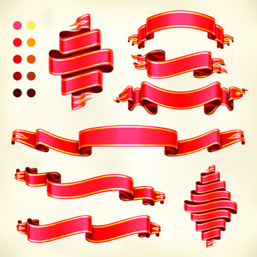 red ribbon banners set vector