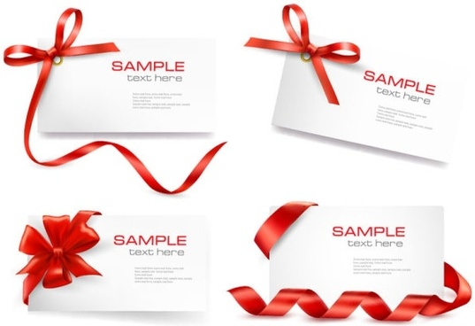 Red ribbon card 01 vector