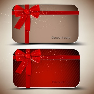 red ribbon card 03 vector