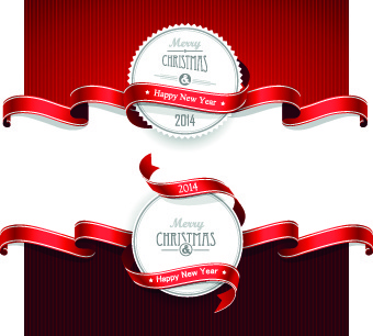 red ribbon christmas cards design vector