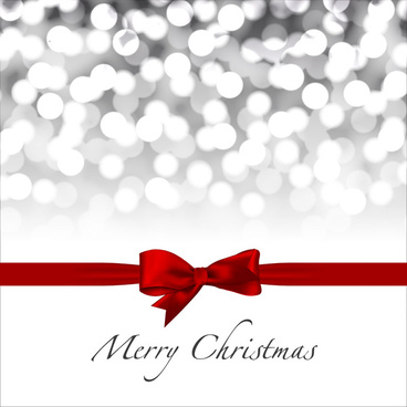 red ribbon decoration for christmas card
