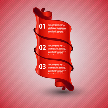 red ribbon infographic 3 step