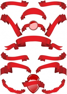 decorative ribbon icons shiny red 3d design