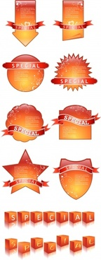 special tags templates orange flat sticker 3d cubic