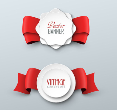 red ribbon with white paper labels vector