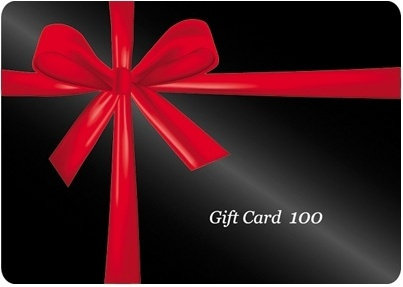 red ribbon wrapped around a black gift card vector
