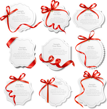 red ribbons with text cards vector