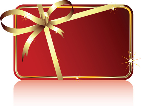 red ribbons with xmas card vector