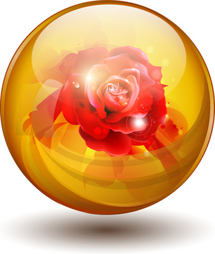 red rose flower inside orb sphere ball