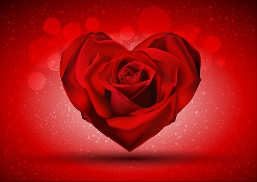 Red Rose in The Shape of Heart over Bright Background Vector