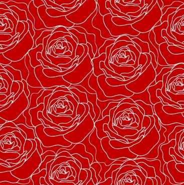 red rose pattern outline repeating decoration