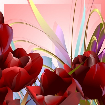 blooming flowers painting colorful closeup decor