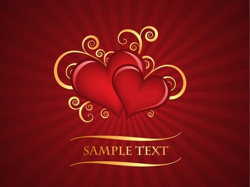 valentine background elegant red hearts rays ornament
