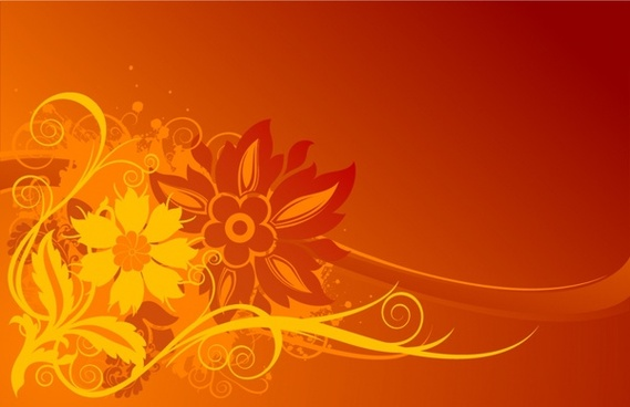 flowers backdrop classical design dark orange ornament