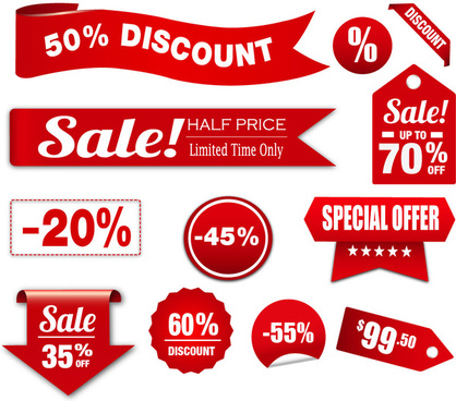 red shaped sets of sales promotion banners
