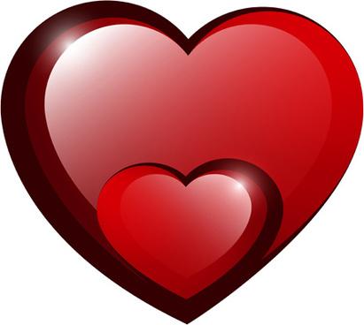red shiny hearts design vector