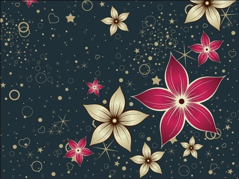 flowers decorative vector design on dark background