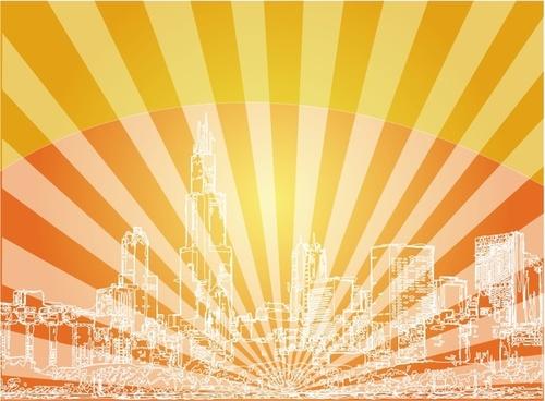 Red Skyline City Background
