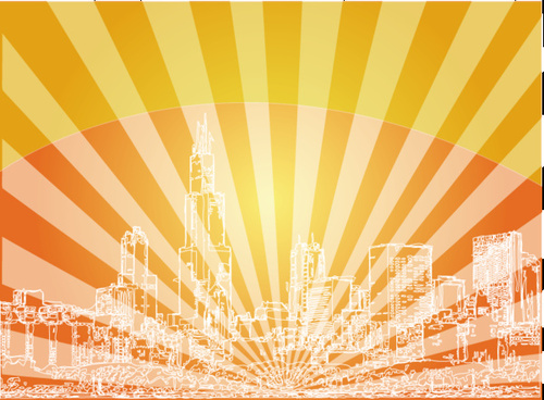 red skyline city background vector design