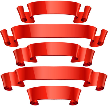 red soft scroll ribbons sets