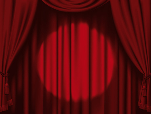 red stage curtain design vector graphic