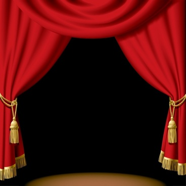 stage background 3d red curtain decor