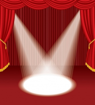 stage background elegant spotlight red curtain decor