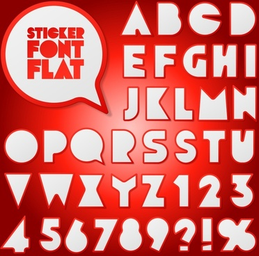 red sticker numbers and letters vector