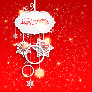 red style christmas shiny greeting card vector