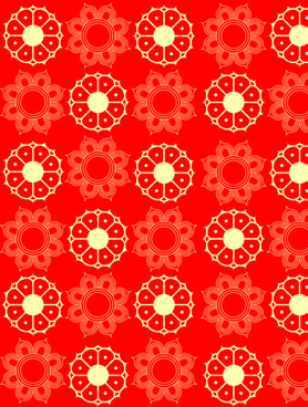 red style floral patterns vector