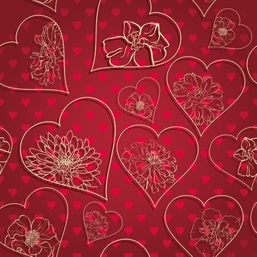 red style heart with valentine day vector