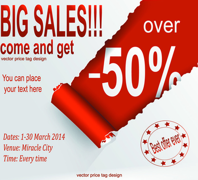 red style sale discounts background vector