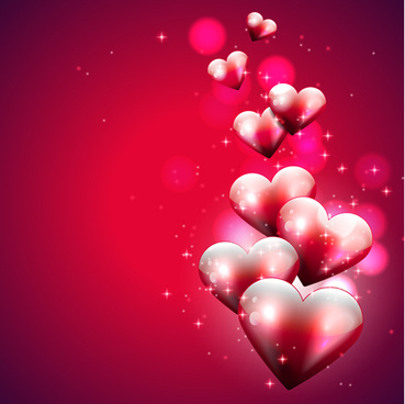 red style valentine cards design elements vector